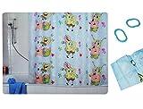 alles-meine.de GmbH Duschvorhang / Vorhang - Spongebob Schwammkopf - 180 * 180 cm für Kinder - wasserabweisend beschichtet incl. Duschringe - Robert Patrick Fische Schnecke Gary ..