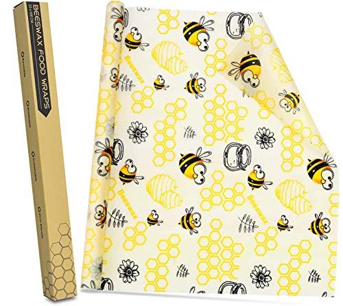 Bee's Wrap Wachspapier, Bienenwachs-Wraps, 33x100 cm Mehrweg-Wraps für Lebensmittel, Zero-Waste-Käse- und Sandwich-Wraps, Alternative zu Frischhaltefolie und Kunststoff - Bees