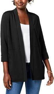 Karen Scott 3/4-Sleeve Open-Front Cardigan
