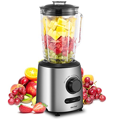 Blender, Smoothie Blender, Household Blender with Glass Jar, Preset Functions & Variable Speed Controls by Comfee (Silver)