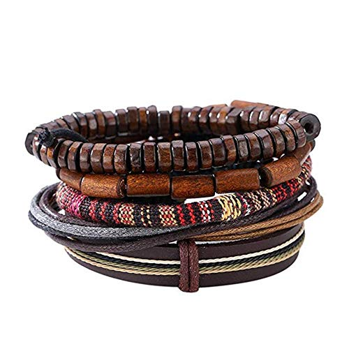 U/K Popular Multi-Layer Leather Bracelet with Vintage Hippy Natural Wooden Beads Rope Braided Bangle Cool Leather Wristband Bracelet for Man Woman Practical and Popular