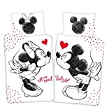 Disney Mickey & Minnie Mouse All we Need - Juego de cama reversible (140 x 200 cm, almohada 70 x 90 cm, 100% algodón), color negro y blanco