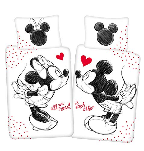 Disney Mickey & Minnie Mouse All we Need - Juego de cama reversible (140 x 200 cm, almohada 70 x 90 cm, 100% algodón), color negro y blanco