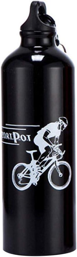 fuchsiaan Botella de agua portátil de aleación de aluminio para deportes al aire libre, 750 ml, con mosquetón, ideal para senderismo, ciclismo, fitness, color negro
