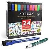 Arteza magnetische Whiteboard Marker, 24 bunte Whiteboard Stifte mit dünner Rundspitze, trocken...