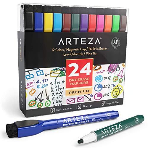 Arteza magnetische Whiteboard Marker mit feiner Spitze, Set mit 24 farbigen Whiteboard-Stiften, trocken abwischbar von Magnettafeln, magnetische Boardmarker mit Filz-Radierer für Büro oder Schule