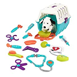 PORTABLE ANIMAL CLINIC: A toy carrying case with all the veterinarian toys an aspiring veterinarian need. 15 PIECES: 1 plush puppy, 1 puppy crate, 1 stethoscope, 1 brush, 1 syringe, 1 thermometer, 1 bowl, 1 medical tray, 1 pair of tongs, 1 mirror, 1 ...