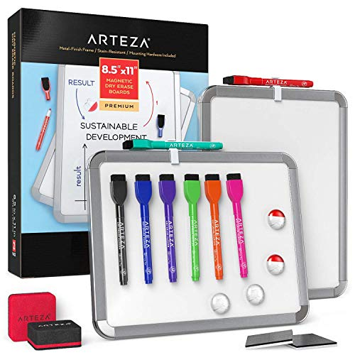 Arteza Framed Magnetic Whiteboard Set 8-12x11 Inches 2-Pack Dry Erase Lap Boards with Markers Magnets Office Supplies for School Home Office Planning Brainstorming Projects