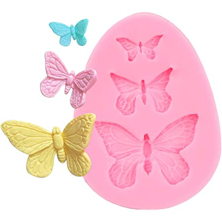 Electomania Butterfly Silicone Fondant Mold Cake Jelly Molds Kitchen Baking Tool Chocolate Mould Approx. 7.5 x 6 x 1cm (Pink)