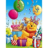 5D DIY Diamond Painting by Number Kit for Adults and Kids,Cute Cartoon Happy Winnie The Pooh Round Dril Beads Crystal Rhinestone Cross Stitch Picture Supplies Arts Craft Wall Sticker Dcor,16'X12'