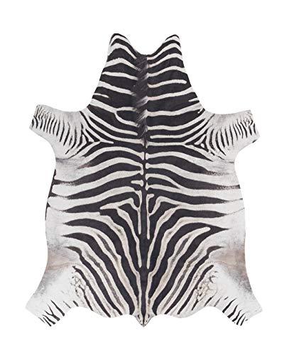 andiamo Kuhfell Teppich Amarillo Design aus Kunstfell Fellimitat im Fotodruck, Zebra schwarz-weiß, 125x155 cm