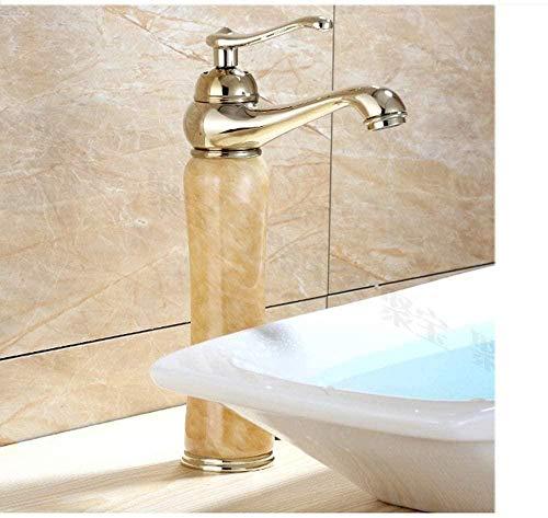 Grifo de lavabo Grifo de lavabo Jade dorado europeo Sobre encimera Lavabo Cuerpo de cobre frío y caliente Grifo de oro Antiguo sobre encimera Grifos de baño