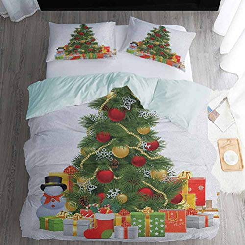 Kids' Quilt Set Full Size, Christmas Duvet Cover Sets - Xmas Tree with Vivid Balls and Snowflakes New Year Celebration Theme Art, Red Green Yellow