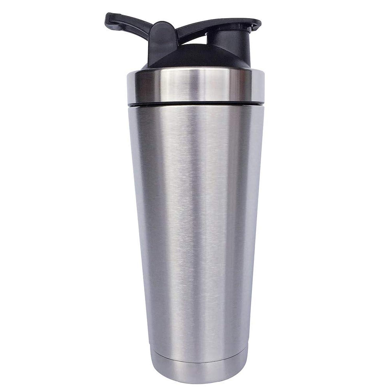 罰する粉砕する対人シェーカーボトル-二重壁ステンレス鋼 & 真空断熱-時間のためのホットまたはコールドドリンクをキープ-臭気耐性抗菌汗プルーフ-環境にやさしい無毒 (銀),720ml