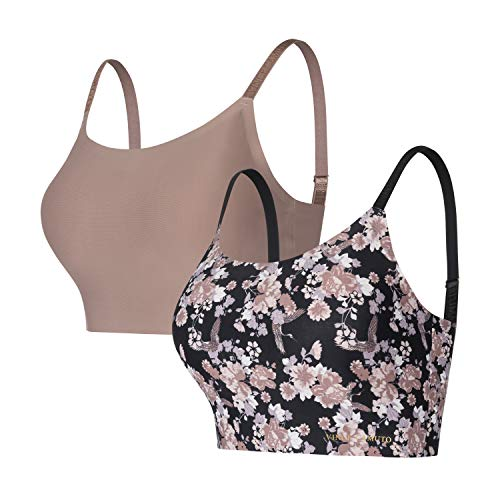 Vince Camuto Women's Smooth Microfiber Wirefree Lounge Bra, 2Pk Spring Chi/Cocoa, Large
