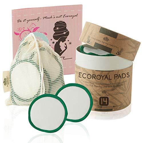 Ecoroyal® Abschminkpads waschbar |14 Wiederverwendbare Wattepads aus Bambus und Baumwolle | 3-Lagen |INKL. Wäschenetz & Aufbewahrungsbox | Kosmetikpads zur Make-Up Entfernung I