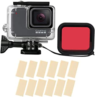 TERSELY Housing Case with Red Filter, 16in1 Anti-Fog Inserts Strip for GoPro Hero 7 White/Silver, Waterproof Case Diving P...