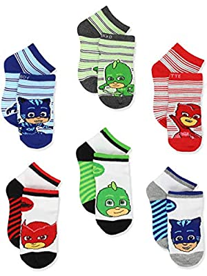 PJ Masks Boys Girls 6 pack Quarter Style Socks Set (6-8 Boys (Shoe: 10.5-4), White/Multi Quarter)