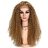 YanT HAIR Lace Front Wigs Synthetic 26' Kinky Curly Synthetic Wigs For Women Blonde Color