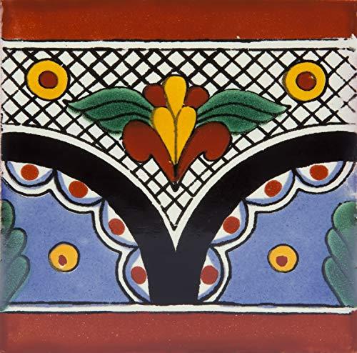 Rita – Piastrelle di ceramica messicana 10,5x10,5cm   Confezione da 30 tessere fatte a mano (0,3m²)   Piastrelle per bagno e cucina Talavera   Disegni spagnoli, marocchini, azulei