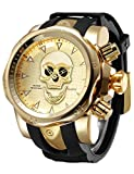 Big Dial Watches for Men Golden 3D Skull Face Sport Stylish Analoge Watch