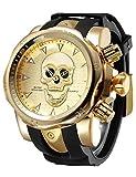 Calavera Reloj Reloj De Pulsera De Cuarzo para Hombre Color Negro Y Dorado De Silicona Negro