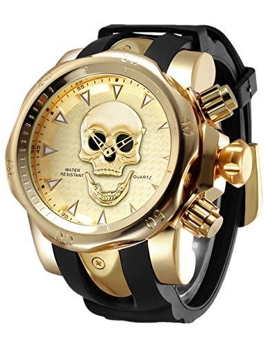 Calavera Reloj Reloj De Pulsera De Cuarzo para Hombre Color Negro Y Do