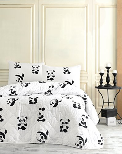 DecoMood Panda Bedding, Full/Queen Size Bedspread/Coverlet Set, Special Design Animals Themed, Black and White Girls Boys Bedding, 3 PCS,