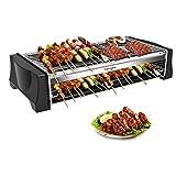 HengBO Barbecue Electrique, Thermostat Réglable Barbecue de Table Grill de Balcon Grill Intérieur pour 8 Personnes, 2200 W, Noir
