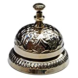 UDL Solid Brass Victorian Style Desk Call Bell Desktop Ring Service Counter Bell Hotel Reception Bell 3 1/4'(D) 2 3/4'(H)