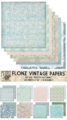 Paper Pack (24blatt 15x15cm) Frosty Winter Ice Patterns FLONZ Vintage Muster Papier fur Scrapbooking und Handwerk