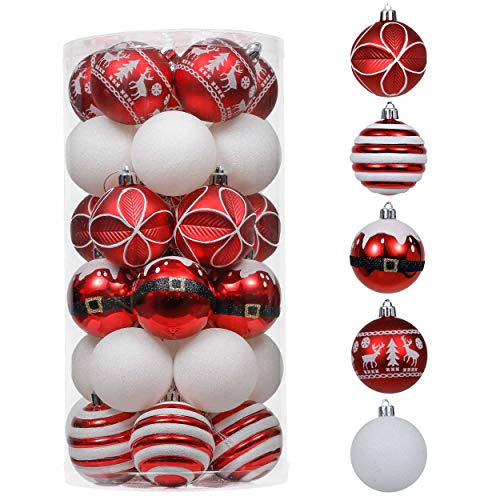 Valery Madelyn 30ct 60mm Traditional Red and White Shatterproof Christmas Ball Ornaments, Christmas Tree Ornament Decoration, Themed with Tree Skirt(Not Included)