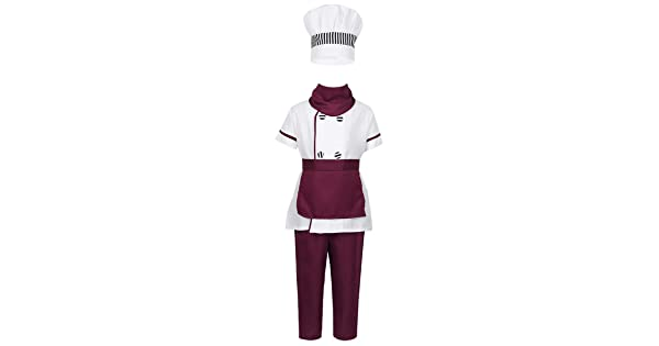 ACSUSS Kids Boys Girls 3PCS Carnival Short Sleeve Executive Chef Costumes with Apron Hat Outfit