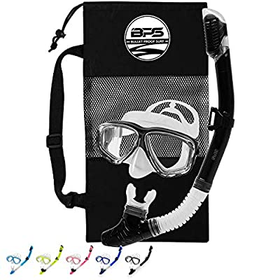 BPS Diving Set with Storage Bag - Scuba Diving Full Set with Mesh Bag/Snorkeling Set - with Snorkel and Dive Mask (Black)