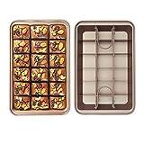 Brownie Sartén antiadherente para brownie con divisores, 18 bandejas para hornear Brownie precortadas, utensilios para hornear de acero al carbono para horno, tamaño 30,5 x 20,3 x 5 cm