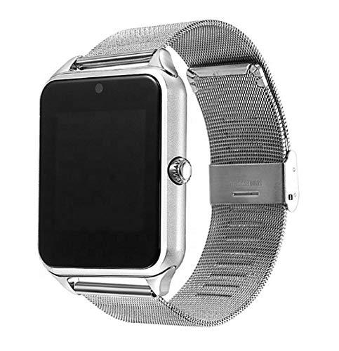 XUEXIU Smart Watch-Metallband-Träger-Kamera- TF-Karte Bluetooth-Schrittzähler Kompatibel Für Android PK Y1 Dz09 V8 Smartwatch (Color : Sliver)