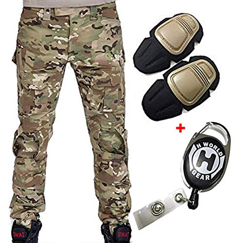 H Welt EU Militär Armee Taktische Airsoft Paintball Schießen Hosen Kampf Männer Hosen mit Knie Pads, Gr.-XXL/ W-38, Multicam