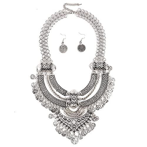 guodong Vintage Étnico Bohemia Maxi Collar con Colgante De Moneda Collar Mujer Joyería Personalidad Exagerada Declaración Collar