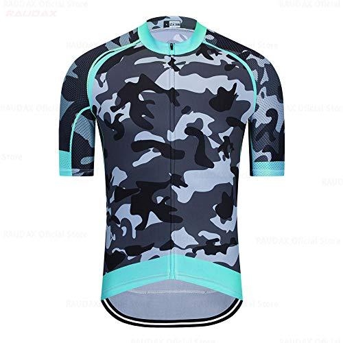 LLYY Radtrikot Herren Fahrradtrikot Set Trikot Kurzarm,Camouflage Summer Kurzarm-Radtrikot-Set Rennrad Uniform Fahrradbekleidung-A19_5XL