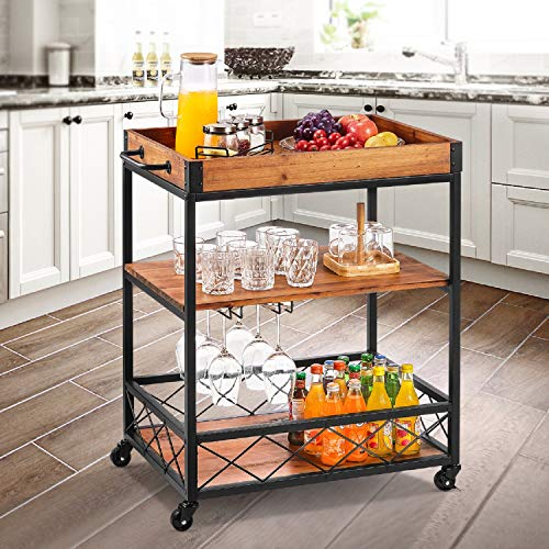 kealive Kitchen Bar Cart for Home Mobile Metal Wine Cart on Wheels with Handle Rack, Glass Holder, Removable Wood Box Container, Rustic Serving Cart 3-Tier Storage, Vintage Brown 26L x 18W x 32.5H