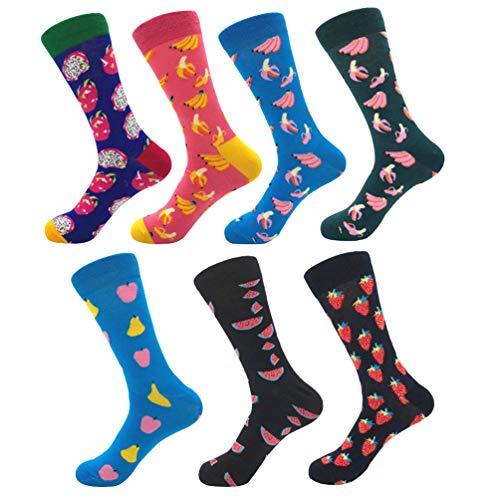 YoungSoul 7 pares calcetines estampados hombre mujer, Calcetines divertidos de algodon, Calcetines de colores de moda