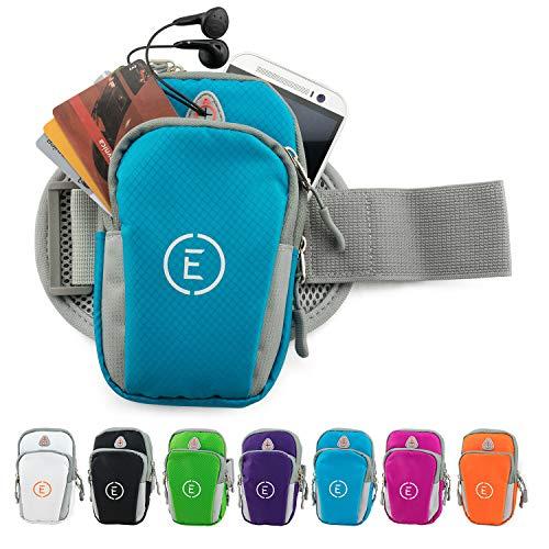 Echelon Line Premium Fitness Armband Handy Hülle Arm Jogging Tasche Rennen Workout Smartphone Laufen Sportarmband Schlüssel Halter für iPhone und Samsung (Blau)