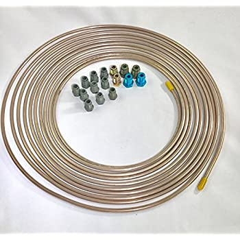 The Stop Shop Copper Nickel 6mm Brake Line Tubing w//metric brake line ISO//Bubble Flare fittings 25 ft Pack of 22 Fittings