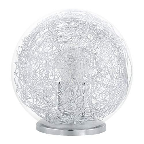 Eglo 93075 Table Lampe boule, aluminium, E27, transparent