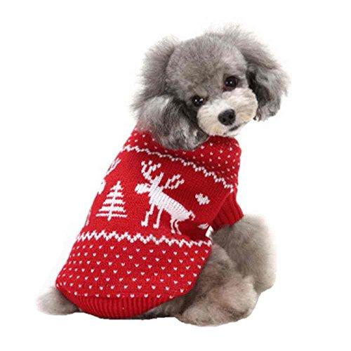 SAMGU Vêtements de Noël Cute Puppy Chien Chat Chaud Manteau Pull Tricots Color 33-Rouge Size Small
