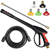 Toolcy Pressure Washer Gun 4000 PSI Power Spray Gun with Pressure Washer Hose 25 FT, Extension Wand & Spray Nozzle Tips