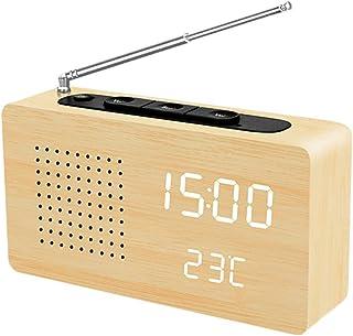 LAOPAO Despertador Reloj de Escritorio Pantalla LED Radio Reloj de Alarma de Madera Despertador Reloj con Ajuste Automático de Brillo para Oficina Dormitorio