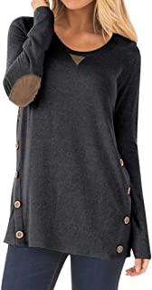 Women Long Sleeve Shirt with Faux Suede Elbow Patches and Button