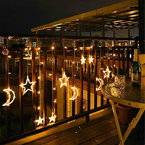 Lamyanran Fairy String Lights 123LED Moon Star Curtain Solar Light Outdoor Waterproof Solar String Light with Remote Controller for Christmas Garden Holiday Festival Ornaments Decoration