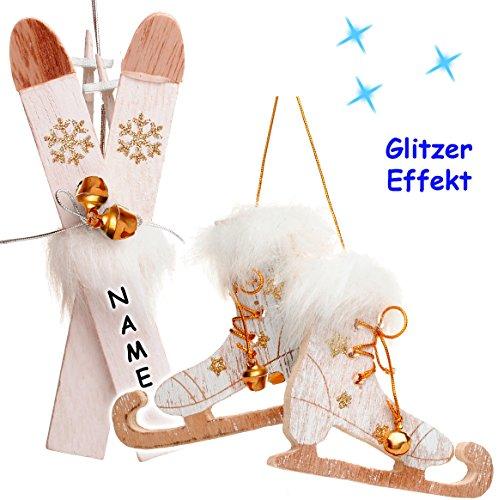 alles-meine.de GmbH 2 TLG. Set _  Ski mit Stöcken + Schlittschuhe mit Glöckchen - weiß / Kupfer  - incl. Name - aus Holz - 13,5 cm - Miniatur / Diorama - Anhänger - Weihnachtsd..